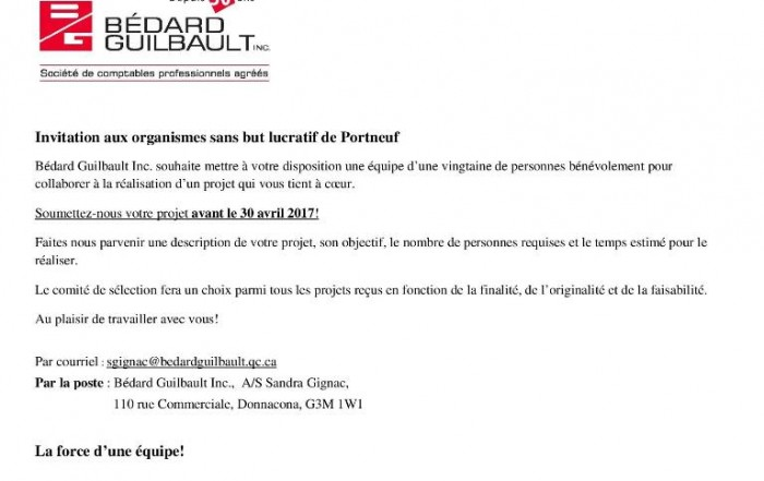 Invitation OSBL-Bedard Guilbault comptable